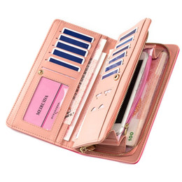Wholesale snap clutches - Wholesale- Women's Long Purses Large Capacity Multifunction Snaps Button Zipper Cross Embossed Mobile Phone Bit Card Holder Clutch Wallets