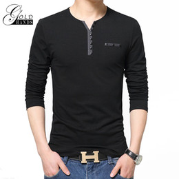 Wholesale Stylish Shirt Men Clothing - Men Spring Autumn V Neck Cotton T Shirt Tops Tee Outdoor Street Pullover Clothing Men's Fashion Slim Fit Long Sleeve T-Shirts Stylish