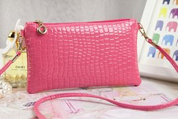 Wholesale White Patent Clutch Bag - Bags Lady Patent leather Crocodile messenger bags New Arrival fashion small PU Leather shoulder crossbody bag women clutch