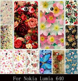 Cubiertas traseras lumia online-Al por mayor-Nueva Lumia 640 funda de impresión para Nokia Lumia 640 colorido brillante Rose Peonía flores fondo de protección caso duro contraportada