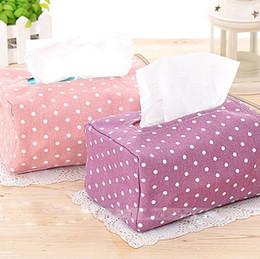 Wholesale Tissue Wholesalers - new korean style cute printed polka dots tissue box tissue paper holder storage box tecidos zipper pouch free shipping