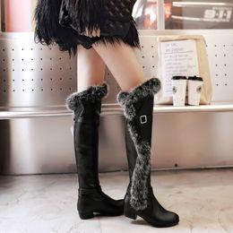 Bottes de neige en fourrure de lapin en Ligne-2016 hiver nouvelle fourrure de lapin chaleur bottes de neige orteils rondes sur le genou bottes bottes de neige pour femmes talon carré bottes en cuir PU