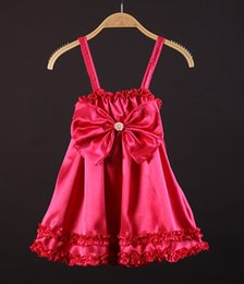 Wholesale Baby Girls Brace Skirt Bow - 2016 girls charming dresses Baby sexy satin dress with big bow Children ruffle summer braces skirt Size90-130
