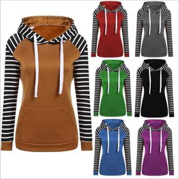 Wholesale Wholesale Clothes Stand - Hoodies Casual Striped Jackets Women Long Sleeve Coats Fashion Blouses Outdoor Sweatshirts New Pullover Outwear Jumper Women Clothes B2764