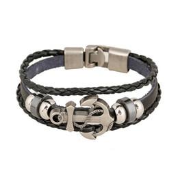 Infinis bracelets styles mélangés en Ligne-Mix Style Lien Bracelets Ancre En Métal Fermoir Infinity Multicouche Cuir Perlé Bracelets Pour Hommes DIY Bijoux Faits À La Main