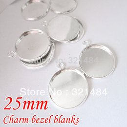 Wholesale Round Cabochon Settings Wholesale Bulk - bulk silver plated round charm pendant tray, w  Horizontal Loop bezel blank, cameo base setting fit 25mm glass cabochon