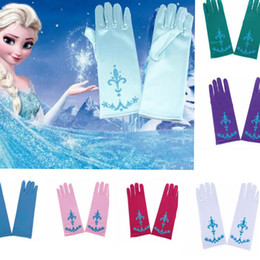 Wholesale Kids Color Glove - Kids Frozen Elsa Anna Princess Gloves Halloween Costume Full Finger Gloves for Halloween Christmas Party Snow Queen Glove 7 color KKA2651