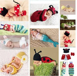 Wholesale Cute Girls Hat Photos - Newborn crochet baby costume photography props knitting baby hat bow infant baby photo props new born baby girls cute outfits