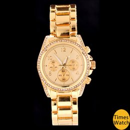 Wholesale Move Free - Stainless steel diamond gold japan move quartz men women wrist couples watch + 4 colors free shipping Famous vogue fashion rose gold watch