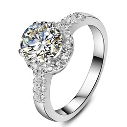Wholesale White Gold Semi Mounts - 2CT Excellent Round SONA Diamond Engagment Ring for Women Micro Paved Semi Mount Sterling Silver in 18K White Gold Plated