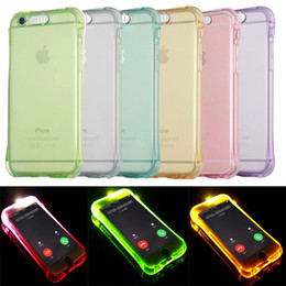 Wholesale Flash Soft - For iPhone 8 Case Call Lightning Flash LED Light Up Soft TPU Ultra Thin Clear Shockproof Cover Transparent Silicone Clear Galaxy S8 S8Plus