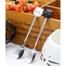 Wholesale Unique Cream - Wholesale- 1 pc Cartoon cat spoons Stainless Steel ceramic spoons Unique Ice Cream Flatware Kitchen Tool coffee shop home accessories A35