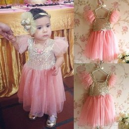 Wholesale Girls Short Fancy Dress - 2016 Pink Princess Baby Girls Party Sequins Tutu Gown Fancy Dress Kids Ball Gowns Pageant Dresses Flower Girl Dresses For Wedding