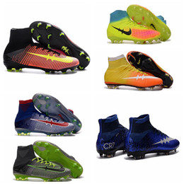 Wholesale Girls Youth Boots - Kids Soccer Shoes CR7 Youth Soccer Cleats Men Soccer Boots Children Magista Orden II Women Girls Mercurial Superfly 5 Boys Football Boots
