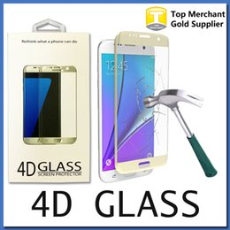 Wholesale Iphone Full Boxes - 0.2MM Galaxy S7 edge S6 S7 Full Screen Protector Tempered Glass S6 edge Plus Cover Whole Screen 4D Curve Screen Protector With Retail Box