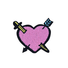 Wholesale Sword Iron - 10PCS Sword Heart Patches for Clothing Iron on Transfer Applique Patch for Garment Jeans DIY Sew on Embroidered Accessories