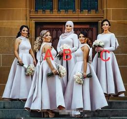 Vestidos de novia más tamaño grande online-Light Purple Puffy Big Bow vestidos de dama de honor musulmanes árabes mujeres vestidos formales más tamaño vestido de fiesta de bodas