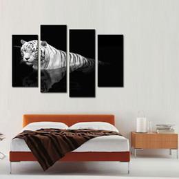 4 Panel Wall Art Painting Tigre in bianco e nero Stampa su tela L'immagine Immagini animali per la decorazione domestica Regali senza cornice da