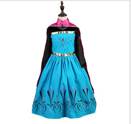 Wholesale Capes For Costumes - Frozen Elsa Anna Dress Costume Party Long Sleeve Clothing Princess Dress for Kid Girls Dress Halloween Costumes Long Cape Cloak in Stock
