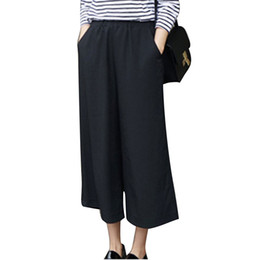 Wholesale chiffon trousers for women - Wholesale- 2017 Spring Summer Fashion High Waist Chiffon Wide Leg Pants Female Plus Size Loose Casual Nine Yards Pants Trouser For Women