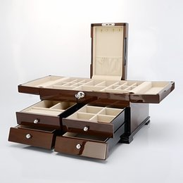 Wholesale Jewelry Wooden Drawers - Luxry wooden mitiple layers of high goss piano laucquer finish casket jewel box Drawer console box