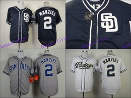 2017 johnny manziel jerseys San Diego Padres Maillot 2 Johnny Manziel Maillots Blanc Gris Bleu Cool Base Coutures Authentiques Baseball Jersey Broderie Logo johnny manziel jerseys à vendre