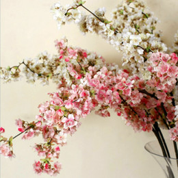 Wholesale Artificial Blossoms - 39Inch Romantic Artificial Branches Of Peach Cherry Blossom Silk Flowers Home Wedding Decoration Flower Free Shipping