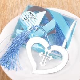 Marcador de la cruz online-Multifunción Bookmarker Heart Cross Shape marcador de metal con borlas Recuerdos de boda Bookmarks Factory Direct Sales 1cda B