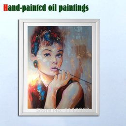 Wholesale Audrey Hepburn Fabric - Handmade Audrey Hepburn painting living room pictures design for fabric painting pop art oil canvas cuadros decorativos