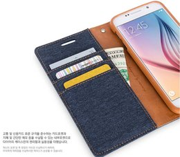 Wholesale Canvas Wallet Case - Mercury Canvas Diary Denim Wallet Stand Leather case cover for Samsung GALAXY S5 I9600 GALAXY S6 G9200 GALAXY S6 EDGE GALAXY S7 g9300 100pc