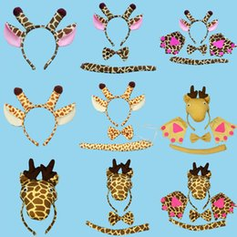 Wholesale Giraffe Gloves - Animal Giraffe Baby Children Party Headbands Ears Tail Gloves Headband Hair Accessories Kids Hairbands for Girls Bow