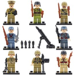 Wholesale Plastic Soldiers - 8pcs lot World War 2 Military Army Soviet US Soldier Hitlerry figures Building Block Brick Toy