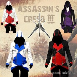 Wholesale Cheap Male Cosplay Costumes - Cheap Assassins Creed 3 III Conner Kenway Hoodie Coat Jacket Assassin's Creed Assassin's Costumes Connor Cosplay Overcoat Custom