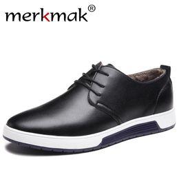 Wholesale Drivers Shoes - Merkmak Winter Casual Shoes Warm Fur Leather Men's Flat Shoes for Man Brand Leisure Waterproof Driver Fashion Sneakers Footwear