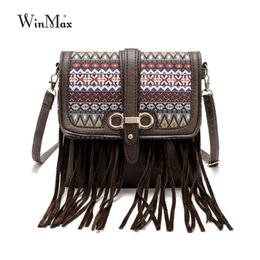 Wholesale Tapestry Bags Wholesale - Wholesale- New Style Retro Minimalist Crossbody Bag Fashion Small Women Shoulder Bag Tapestry Textures Floral Tassel Women Messenger Bag