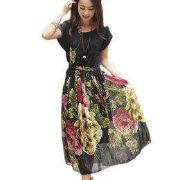 Wholesale Boho Dress Large - Wholesale-New 2016 Summer Print Chiffon Vintage Dress Plus Large Size Short Sleeve O-Neck Women Long Maxi Floral Boho Bohemian Dress BJ720
