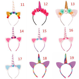 Wholesale Wholesale Cat Ear Headband - Baby Unicorn Party Hairwear Children Birthday Party Flower Hair Clasp Cosplay Crown Baby Cute Lovely Headband Cat Ears