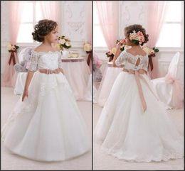 Wholesale Princess Bow Belt - Off the Shoulder Cute Flower Girl Dresses for Wedding 2016 Vintage Lace with Coral Bow Belt Princess Lace-Up Kids Communion Dresses CPS293