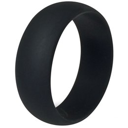 Wholesale Crossfit Silicone - 8MM Size 7-15 Black Silicone Ring Band Hypoallergenic Rubber Wedding Outdoor Party Crossfit Flexible Sports Fishing