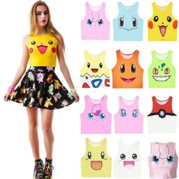 mignonne fille cosplay Promotion Le plus récent Poke Tank Tops Girls Cosplay Costume Pocket Monster Sailor Moon Crystal Cute Crop Tops Vest Tank Tops Chemise 4116