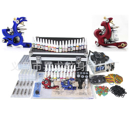Wholesale Complete Tattoo Guns - Professional Tattoo Kit 2 Machine Gun 40 Color Inks Power Supply Complete Tattoo Kits For Sale Free Shipping