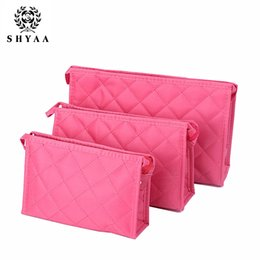 Wholesale Toiletries Gift - SHYAA Cosmetics Wholesale Manufacturers Lingge Women Bag Travel Toiletries Bag Promotional Gift Handbags Hot Selling 10pcs lot drop shipping