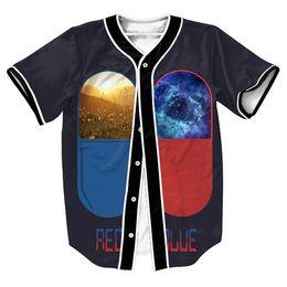Mochilas de baseball unisex on-line-Atacado-Jersey tess camisas dos homens 3d GALAXY SPACE UNISEX PRINT Streetwear camisa de beisebol com botões estilo verão Hip Hop