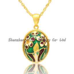 Wholesale Faberge Egg Plate - Ladies jewelry gifts lovely flower floral necklaces handmade color enamel Russian style Faberge egg pendants necklace for woman
