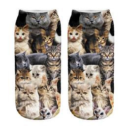 Wholesale Socks Carton - Wholesale-New 3D Printed Women Socks Cute Low Cut Ankle Sock Multiple Cartons Fashion Style Animal Cat Polyester Sock