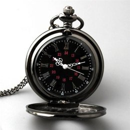 Wholesale Retro Steampunk Watch - Retro Vintage Antique Steampunk Quartz Necklace Pendant Pocket Watch Black New H210975