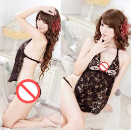 Wholesale Open Crotch Uniform Lingerie - Free shipping new sexy lingerie sexy soft yarn perspective three lace lace elegant chiffon open crotch transparent pajamas sexy lingerie wom
