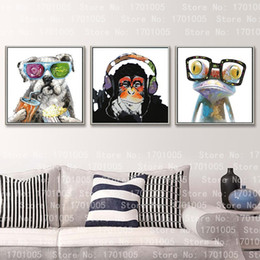 Wholesale 3pcs Monkey - 3PCS dog frog monkey Canvas ,genuine Hand Painted Contemporary Wall Decor Animal Cartoon Art Oil Painting.customized size accepted liuzhi