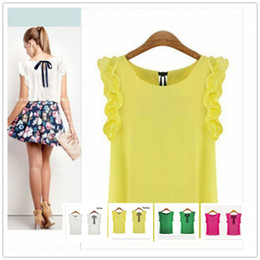 Wholesale Casual Chiffon Blouse Tops - Women's Lotus Leaf Round Neck Pullover Chiffon Lacing Shirt Female Bow Top Blouses 2017 New Fashion White and Yellow Color For Choices