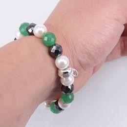 Wholesale Bracelet Charms Thomas - Thomas Pearl, Hematite and Aventurine Beads Charm Bracelet, Width: 1.0CM, European TS-Style Fine Jewelry For Women